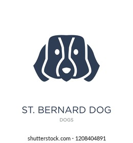 St. Bernard dog icon. Trendy flat vector St. Bernard dog icon on white background from dogs collection, vector illustration can be use for web and mobile, eps10