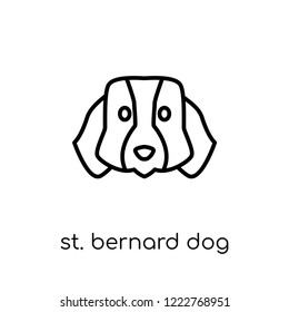 St. Bernard dog icon. Trendy modern flat linear vector St. Bernard dog icon on white background from thin line dogs collection, editable outline stroke vector illustration
