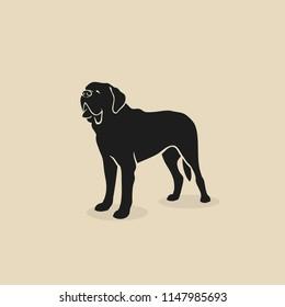 St. Bernard dog - St Bernard - isolated outlined vector illustration