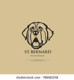 St. Bernard dog - isolated outlined vector illustration