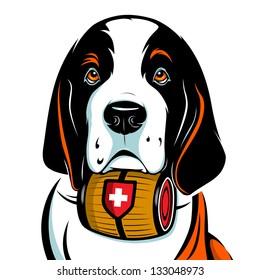 St. Bernard Dog. Vector Illustration