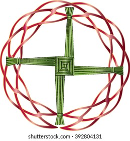 St Brigid's cross made of straw to protect the house from evil and fire. A Celtic design with braided celtic knot round frame.