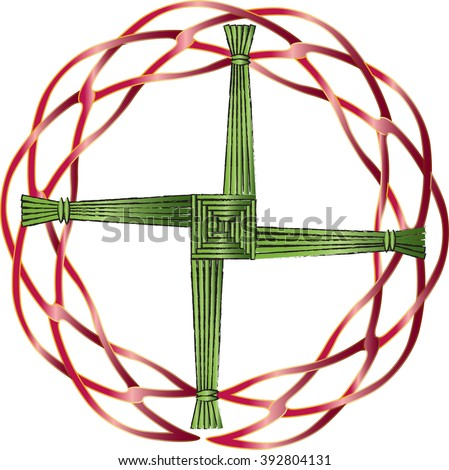 St Brigids Cross Made Straw Protect Stock Vector Royalty Free