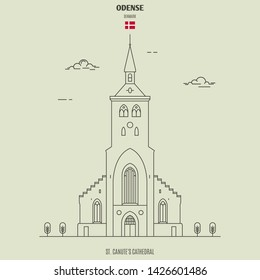 St. Canute's Cathedral in Odense, Denmark. Landmark icon in linear style