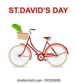 St David's day card. Bicycle and  basket  with leek. Vector illustration.