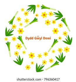 St. David's Day card with daffodils and leeks wreath and text in old Welsh language. Vector illustration.