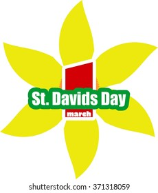 St David's Day  greeting card template. Wales national holiday. Narsicuss flower and text.
