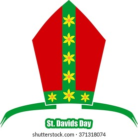 St David's Day  greeting card template. Wales national holiday. Catholic hat tiara.
