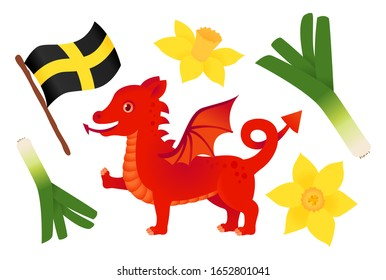 St davids day icon set with welsh dragon, leek, daffodil and flag isolated vector