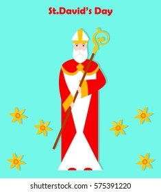 St. David's day. Patron of Wales. Vector illustration.