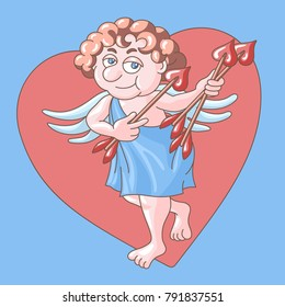 St. Valentine's Day. Amour wearing in toga with bow and arrows on heart background. Postcard image for your business and design