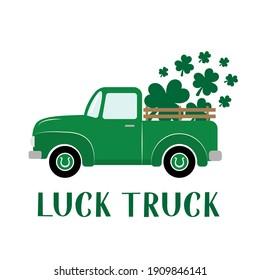 St. Patrick's day retro truck delivers shamrocks. Saint Patricks day greeting card. Green vintage pickup. Vector template for banner, poster, flyer, postcard, etc.