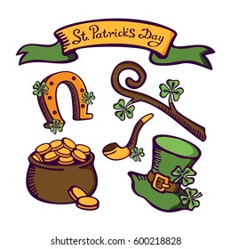 St. Patrick's day set. Smoking pipe, staff, horseshoe, money pot and leprechaun hat. Vector cartoon images postcards, cartoons, games, wallpapers, linen and clothing