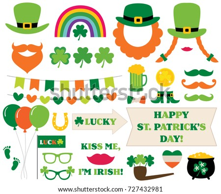 St. Patrick's Day vector decoration and photo booth props