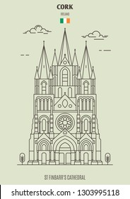 St Finbarr's Cathedral in Cork, Ireland. Landmark icon in linear style