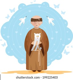 St. Francis of Assisi with a white kitten in her lap. Blue background with hearts, butterflies and birds.