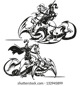 St George Brush drawing-based vectors showing St. George fighting with a dragon.