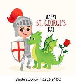 St. George greeting card with dragon