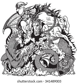 St George knight on horseback fighting a dragon Black and white illustration