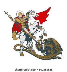St. George on horseback. Vector illustration