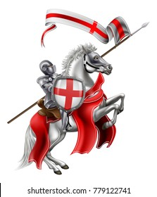 St George patron Saint of England in medieval knight armour mounted on his horse