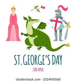 St. George's Day card with dragon, princess, knight and rose. Vector illustration.