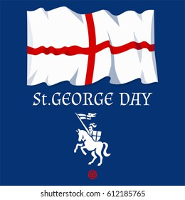 St. George's day card with flag and knight on horseback. Vector illustration.