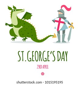 St. George's Day card with knight and dragon. Vector illustration.