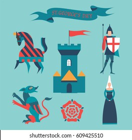 St. George's Day set. Castle, knight, dragon, horse, princess. Vector illustration.