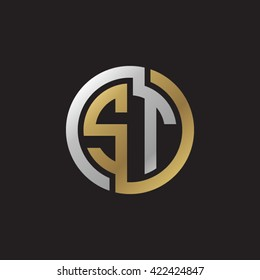 ST initial letters looping linked circle elegant logo golden silver black background
