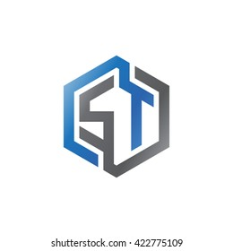 ST initial letters looping linked hexagon logo black gray blue