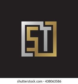 ST initial letters looping linked square elegant logo golden silver black background