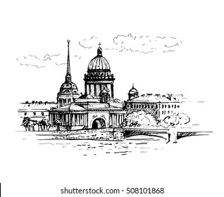 St. Isaac's Cathedral and Neva river with bridge,Saint-petersburg, Russia. Vector illustration. Sketch.
