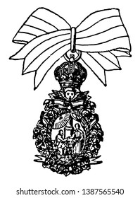 St. Isabella is a military decoration of Europe, it is a medal which shows two men shaking hands, one looks little aged another one is young, on top of this medal crown is hooked with white ribbon.