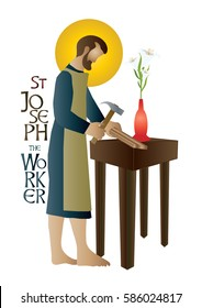 St Joseph the worker, abstract artistic religious vector design