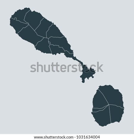 St Kitts Nevis Map On Gray Stock Vector (Royalty Free) 1031634004 ...