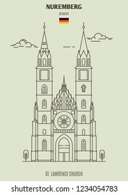 St. Lawrence Church in Nuremberg, Germany. Landmark icon in linear style