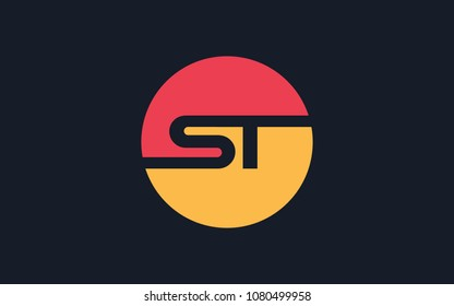ST letter initial Circular Logo Design Unique Trendy Modern