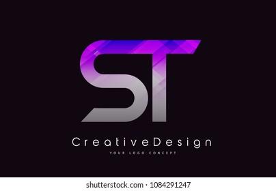 ST Letter Logo Design in Purple Texture Colors. Creative Modern Letters Vector Icon Logo Illustration.