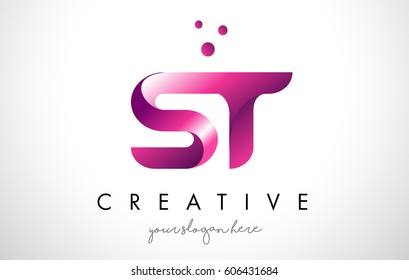ST Letter Logo Design Template with Purple Colors and Dots