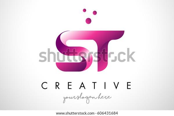 St Letter Logo Design Template Purple Stock Vektorgrafik