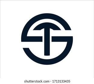 ST letter logo design Vector