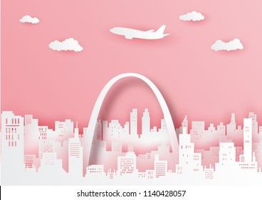 St. Louis Arch famous landmark of America ,paper cut style vector illustration.