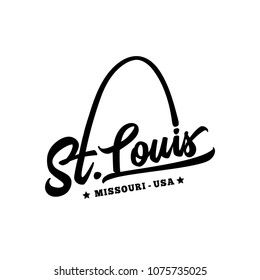 St. Louis. Black and white lettering design. Decorative inscription. Saint Louis vector and illustration.