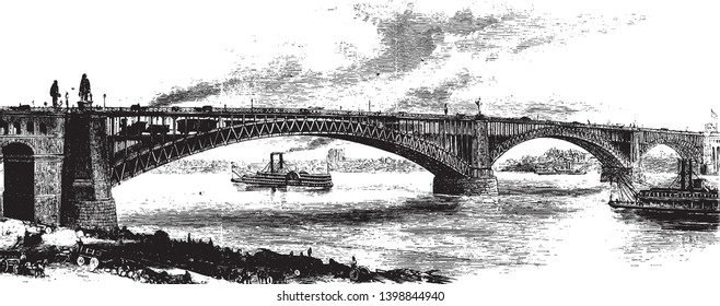 St Louis Bridge is a steel combined road and railway bridge over the Mississippi River connecting the cities of St Louis Missouri and East St Louis, vintage line drawing or engraving illustration.