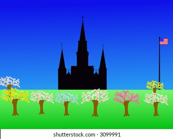 St Louis Cathedral Jackson Square New Orleans in springtime