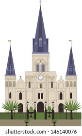 St. Louis Cathedral. New Orleans. Vector