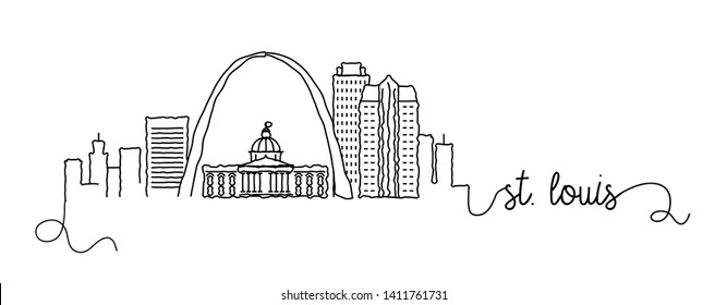 St. Louis City Skyline Doodle Sign