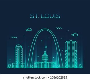 St. Louis city skyline, Missouri, USA. Trendy vector illustration, linear style
