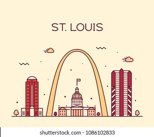 St. Louis city skyline, Missouri, USA. Trendy vector illustration, linear style